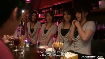 Four Asian bartenders invite clients into Dream Room for dirty orgy