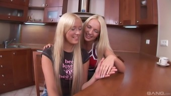 Lesbian one on one in the kitchen with Teena Lipoldino and Breatney