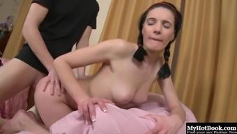 Skinny vixen Yanie gets her orgasmic cunt hammered hard