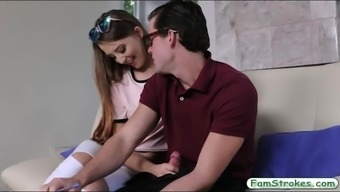 Teenie Avery Adair slammed by her stepbro on the couch