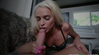 Skilled sicking head Emma Hix sucks a thick cock in hot pov clip