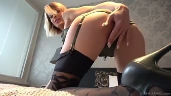 Pale Czech blond head Ria Sunn has got a fancy for taking double penetration