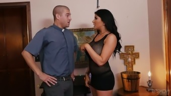 Gorgeous seductive babe Romi Rain is making love with one handsome guy