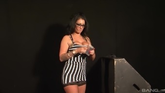 Hoe in glasses and fishnets Brooklyn Blue getting fucked hard