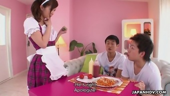 Kawaii looking Japanese maid Hikaru Ayami finds FMM threesome super hot
