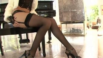 Babe in sexy dark underwear Jenna Haze gets her lubed twat nailed doggy
