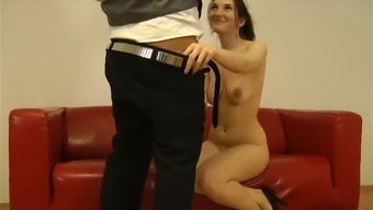 Horny older stud fucks naughty raven haired chick in doggy and missionary poses tough