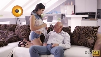 Bald headed old dude fucks pretty hot young chick Mira Cuckold