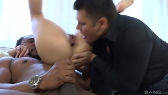 Pretty Mira Cuckold gets her ass drilled with a dark cock
