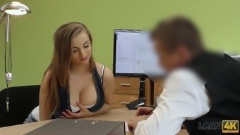 Ample breasted Czech chick Suzie is fucked for money in the office