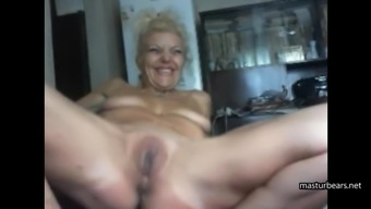 62 years old Emma masturbates for webcam