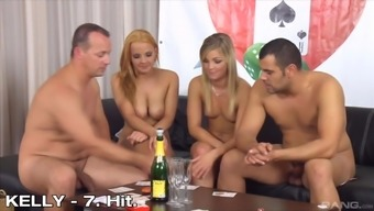 Smoking hot girls like to fuck together with handsome guys