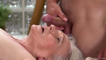 Naughty granny Norma gets her hairy pussy banged by a kinky guy