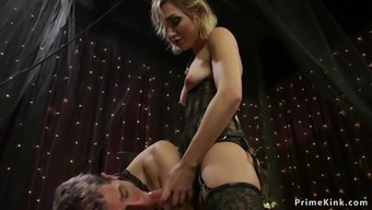 Blonde mistress anal fisting her male sub