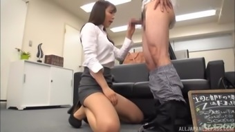 Kinky secretary wants to play with a hard cock in the office