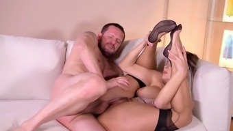 Steamy blonde babe in complete foot fetish anal