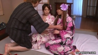 Lovely buxom Japanese geisha China Mimura gives a really good BJ