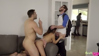 Cute shorty with small tits Jasmine Gomez gets fucked by two dudes