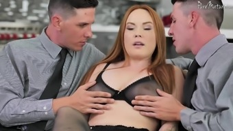 Chubby curvy redhead babe Summer Hart pounded by two cocks at once