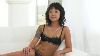 Small tittied Korean porn model Saya Song gives an interview