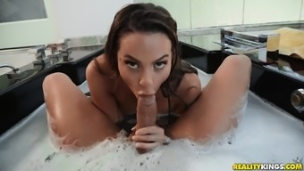 The lux bathroom is the favorite fuck place for adorable Abigail Mac