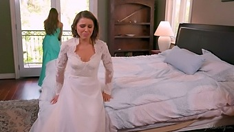 Bridesmaid gives a cunnilingus to upset bride Abigail Mac and makes her fully satisfied