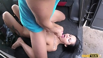 Sexy brunette Amanda Black craving for hard and long penis in the car