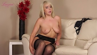 Alluring busty Millie Rose is alone blonde who gonna flash her sexy boobies