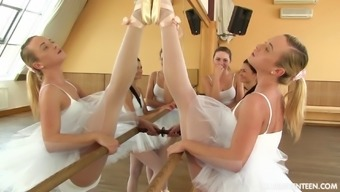 Ballerinas in white pantyhose dancing and fucking toys