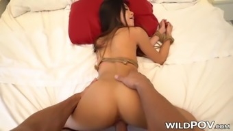 Bound asian cutie vina sky working on fat pov cock