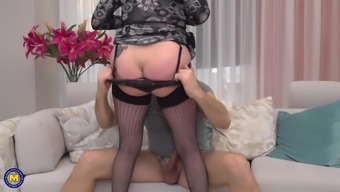 Blonde mature BBW Valentina pussy fucked from behind hardcore