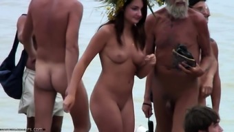 Voyeur girl naked on public beach