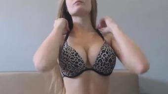 Hot Babe with Natural Big Boobs Masturbates