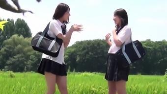 Asian teens squat and pee