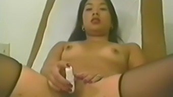 Asian nurse caught masturbating in her office with toys