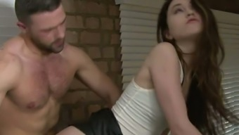 Kinky man fucks small tittied brunette GF Misha Cross from behind rough