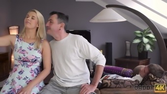 DADDY4K. Daddy fucks mouth and pussy of brilliant sons...