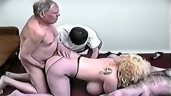 ORGIE GRANDPA AND BLONDE GIRLS BING TITS