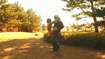Horn-mad Japanese BF is happy to fuck Arisa Minami in standing pose outdoors