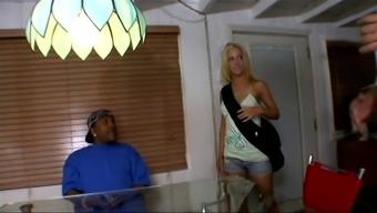 Skinny blonde enjoys getting big black cock rammed up her shaved pussy