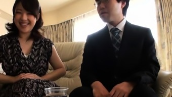 Coarse throat fucking and tit playing for japanese older