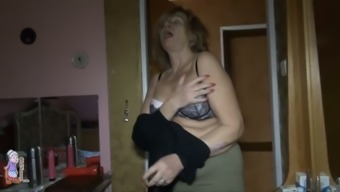 Two mature lesbians examine each others slits with new sex toy