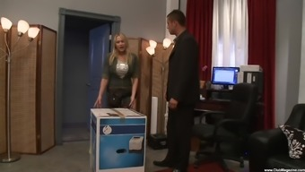 silicone blonde Alanah Rae gets her cunt fucked by a handsome dude