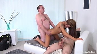 Old men share young pussy in crazy home threesome