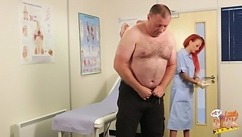 Redhead doctor Billie Rai takes a small dick of a fat dude in her hands