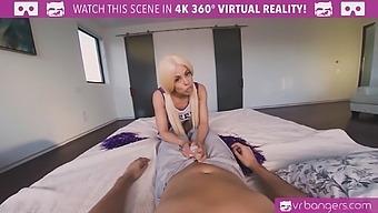 VR BANGERS Curvy blonde cheerleader showing her screwing skills