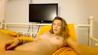 Blonde girl solo hard dildo fucking fingering and squirting