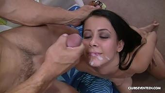 Alaina Kristar's face glazed with cum after a galvanizing screw