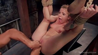 Horny blonde Alina West spreads her legs for  BDSM sex machines