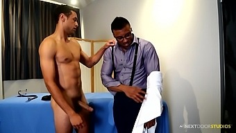 Horny black doctor examines his stud of a patient before fucking him